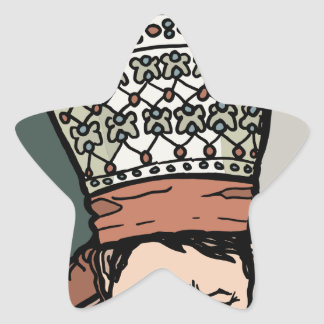 Central Asian Woman Thinking (in hat) Star Sticker