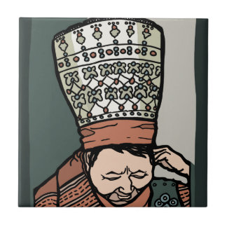 Central Asian Woman Thinking (in hat) Tile