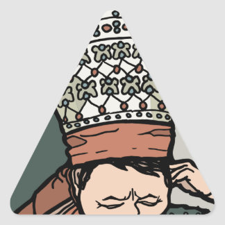 Central Asian Woman Thinking (in hat) Triangle Sticker