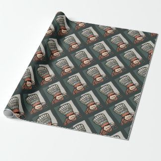 Central Asian Woman Thinking (in hat) Wrapping Paper
