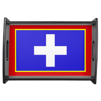 central greece flag country region symbol serving tray