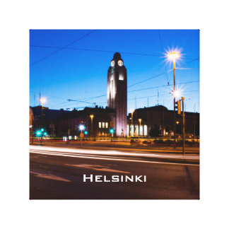 Central Helsinki during Blue Hour Canvas Print