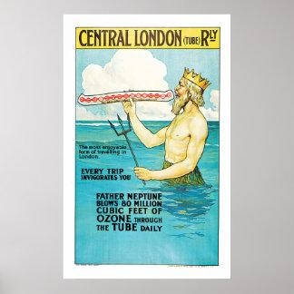 Central London Railway Vintage Travel Poster