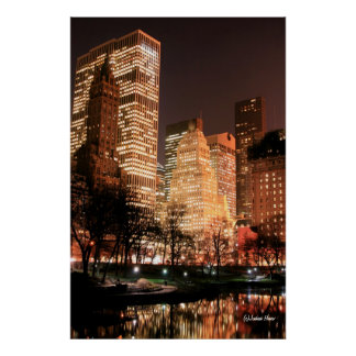 Central Park and Manhattan Skyline at Night Poster