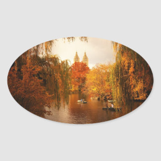 Central Park Autumn Romance Oval Sticker