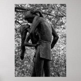 Central Park Autumn: Romeo & Juliet Statue 01 B&W Poster