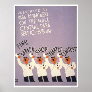 Central Park Barber Shop 1937 WPA Poster