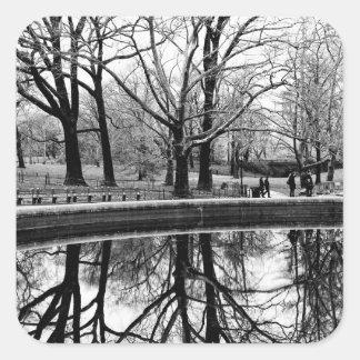 Central Park Black and White Landscape Photo Square Sticker