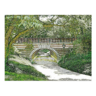 Central Park Bridge and Path Postcard