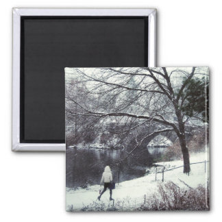 Central Park Bridge On A Blustery Day Square Magnet
