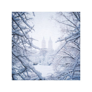 Central Park Framed In Snow and Ice Canvas Print