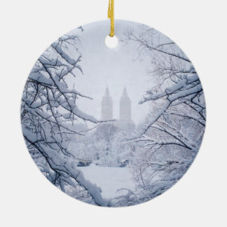 Central Park Framed In Snow and Ice Round Ceramic Ornament