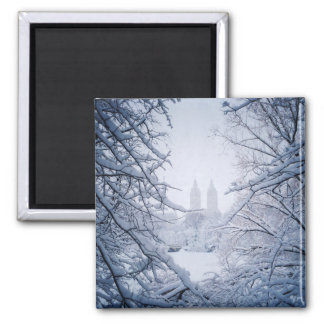 Central Park Framed In Snow and Ice Square Magnet