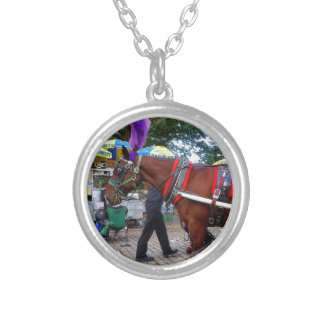 Central Park Horse Silver Plated Necklace