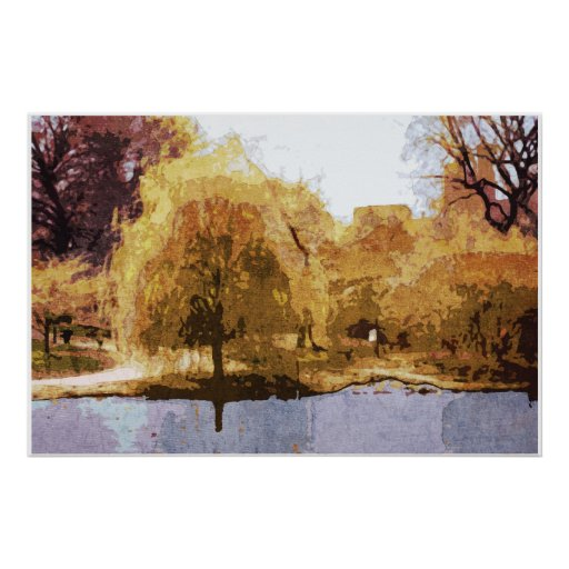 Central Park in Autumn poster, framed or unframed Poster