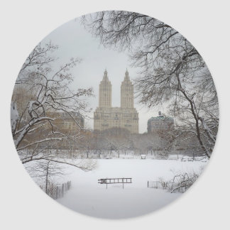 Central Park in the Snow, New York City Round Sticker