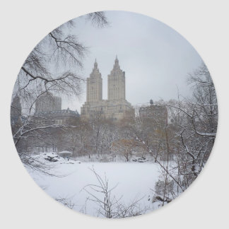 Central Park in Winter, Through the Trees Round Sticker