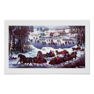 Central Park in Winter Vintage Lithograph Poster