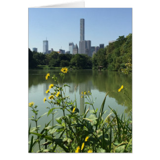 Central Park Lake Flowers Skyscraper New York NYC Card