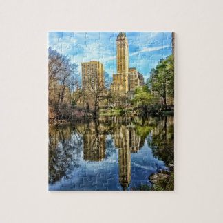 Central Park Reflection of New York Skyline Jigsaw Puzzle