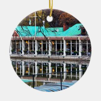 Central Park Rowboat Restaurant Boathouse Round Ceramic Ornament