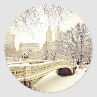 Central Park Snow - Winter New York Round Sticker