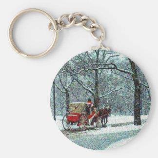 Central Park Snowy Carriage Basic Round Button Keychain