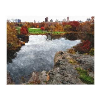 Central Park Watercolor Canvas Print