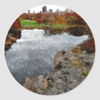 Central Park Watercolor Round Sticker