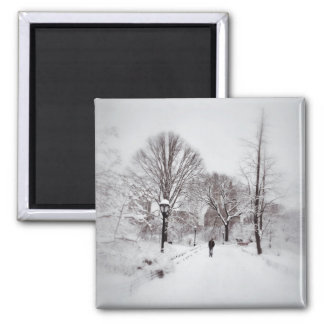 Central Park White Out Square Magnet