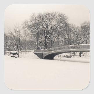 Central Park Winter - Bow Bridge Snow Square Sticker