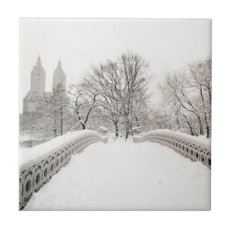 Central Park Winter Romance - Bow Bridge Ceramic Tiles