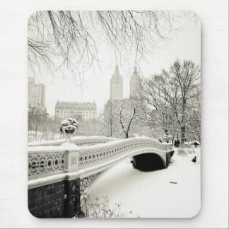 Central Park Winter - Snow on Bow Bridge Mouse Pad
