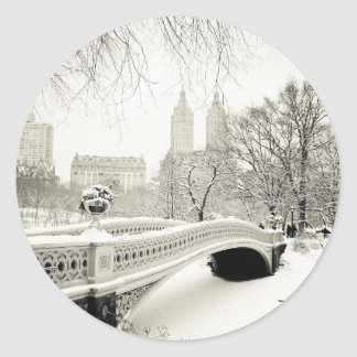 Central Park Winter - Snow on Bow Bridge Round Sticker