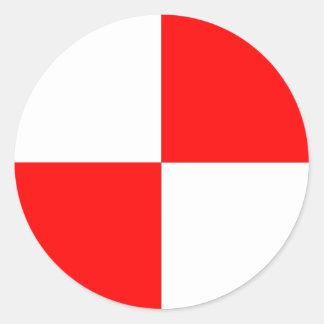 Centre de l'autocollant de gravité sticker rond