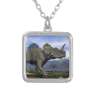 Centrosaurus dinosaurs - 3D render Silver Plated Necklace