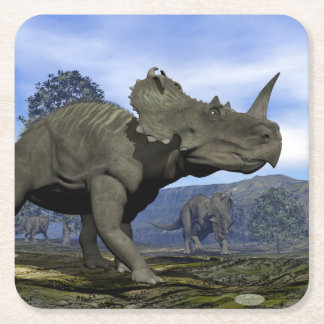 Centrosaurus dinosaurs - 3D render Square Paper Coaster