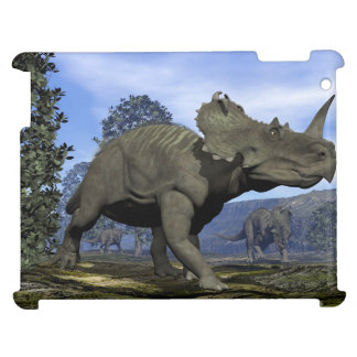 Centrosaurus dinosaurs walking among magnolia tree case for the iPad