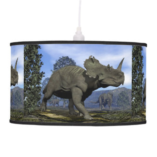 Centrosaurus dinosaurs walking among magnolia tree pendant lamp