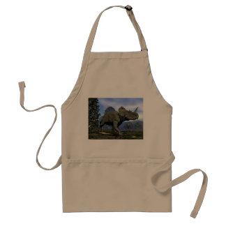 Centrosaurus dinosaurs walking among magnolia tree standard apron