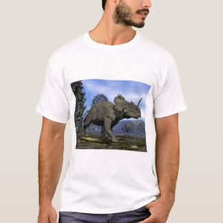 Centrosaurus dinosaurs walking among magnolia tree T-Shirt