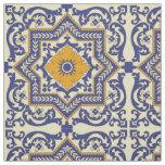 Ceramic Azulejo Style Blue Orange Fabric