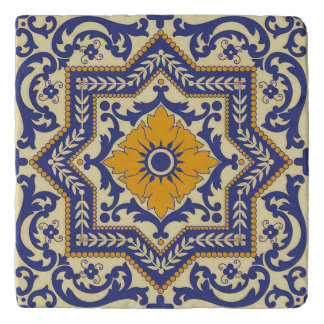 Ceramic Azulejo Style Blue Orange Trivet