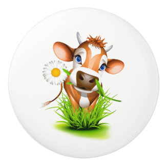 Ceramic Cabinet Knob-Daisy The Cow Ceramic Knob