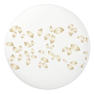 Ceramic Cabinet Knob-Gold Leaves Ceramic Knob