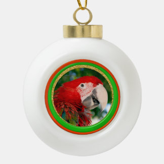Ceramic Christmas Parrot Photo Ornament