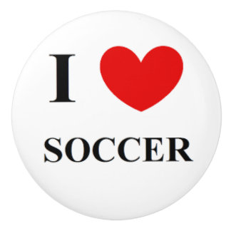 Ceramic Door Knob and cabinet pulls I Love Soccer