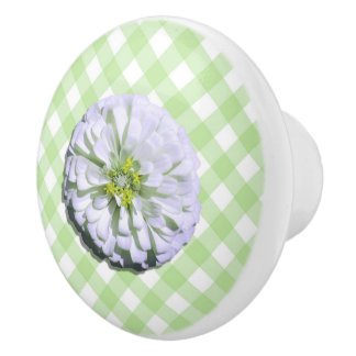 Ceramic Drawer/Door Pull - Lemony White Zinnia