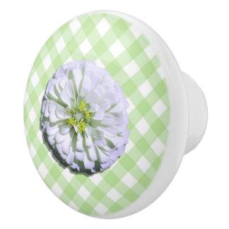 Ceramic Drawer/Door Pull - Lemony White Zinnia Ceramic Knob