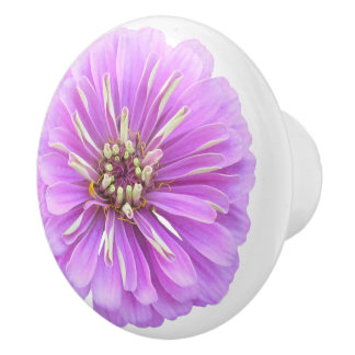 Ceramic Drawer/Door Pull - Lilac Zinnia